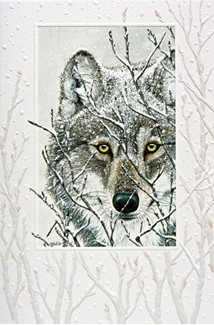 Snowy Watch | Wolf embossed cards