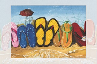 Flip Flop Fence | Scenic beach embossed greeting cards