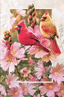 Cardinals in Mallow | Embossed love friendship greeting cards