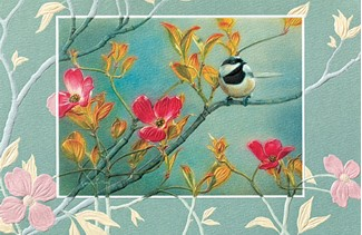Chicadee in Pink Dogwood | Embossed greeting cards