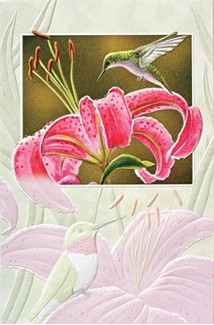Lily Lover | Embossed hummingbird greeting cards