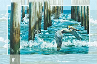 Fishing Pier | Pelican birthday cards