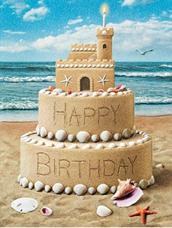 Castle Cake | Sand castle birthday note cards