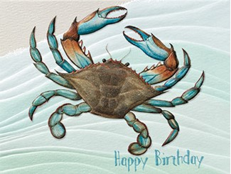 Crabby Celebration | Crab birthday note cards