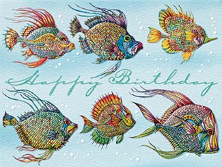 Friendly Fish | Tropical fish birthday greeting cards