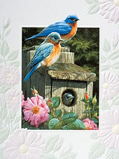 Garden Bluebirds | Bluebird inspirational note cards