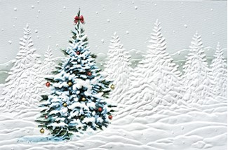 Decorated Tree | Embossed boxed Christmas tree greeting cards