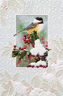 Curious Chickadee | Songbird boxed Christmas cards