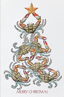 crabs for christmas blue crab boxed christmas cards