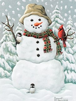 Happy Snowman | Embossed snowman Christmas cards