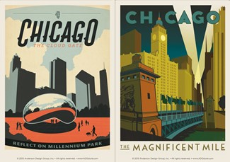 Chicago Mag Mile & Mill Park | Chicago themed magnets