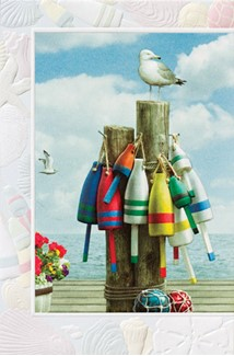 Lobster Buoys | Fishing blank greeting cards