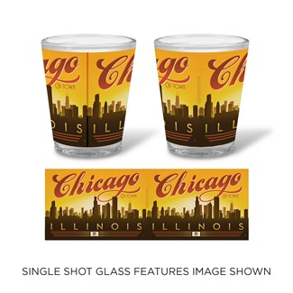 Chicago Sunset Skyline Shot Glass | Chicago themed drinkware