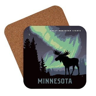 MN Northern Lights Moose | American Made Coaster