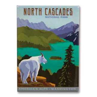 North Cascades Metal Magnet| American Made Magnet