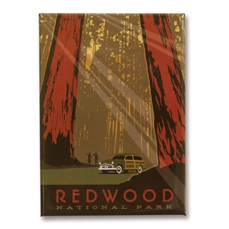 Redwood Metal Magnet| American Made Magnet