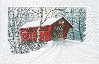 Red Covered Bridge | Scenic Christmas cards