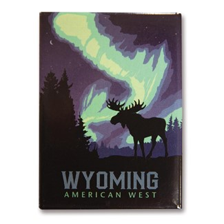 Wyoming Northern Lights Moose | Metal Magnets