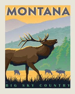 MT Elk Big Sky Country Print | Made in the USA