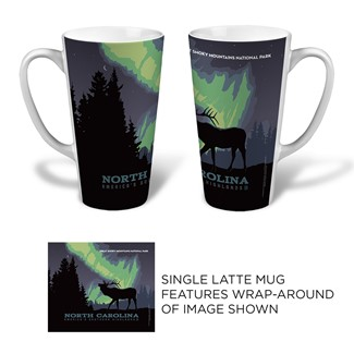 NC Great Smoky Northern Lights Elk Latte Mug | Made in the USA