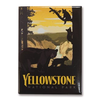 Yellowstone Mama Bear & Cubs Metal Magnet