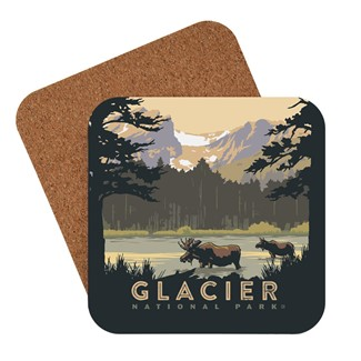 Glacier National Park Moose In Lake | American made coaster