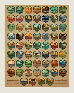 60 National Park Emblems Print | American Made