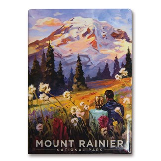 Mount Rainier Moment in the Meadow Magnet | Metal Magnet
