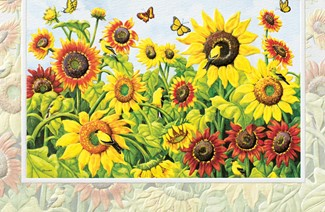 Sunflowers & Goldfinches | Songbird Inspirational embossed cards