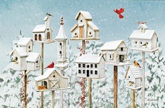 Winter White Birdhouses | Songbirds Christmas cards