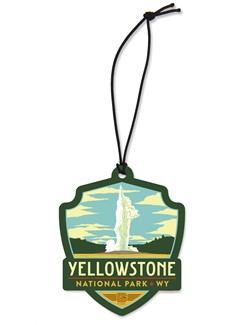 Yellowstone Old Faithful Emblem Wood Ornament | American Made