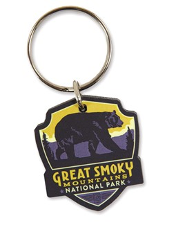 Great Smoky Bear Emblem Wooden Key Ring | American Made