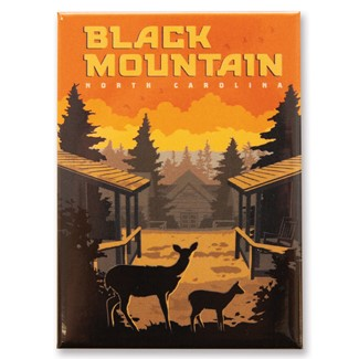 NC Black Mountain Lodge Sunset Magnet | Metal Magnets
