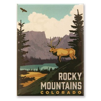 Rocky Mountains CO Elk Magnet | Metal Magnet