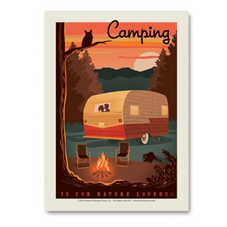 Camping is For Nature Lovers Vert Sticker | Vertical Sticker