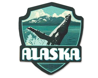 AK Whale Breaching Emblem Wooden Magnet | American Made