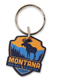 MT Moose Emblem Wooden Key Ring | American Made