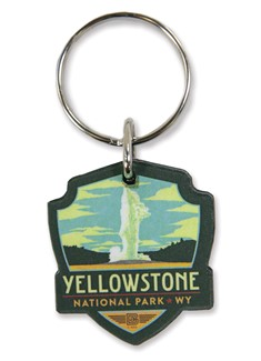 Yellowstone Old Faithful Emblem Wooden Key Ring | American Made