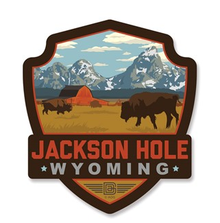 Jackson Hole, WY Emblem Wooden Magnet | American Made