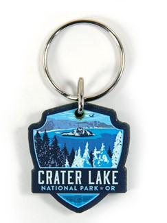 Crater Lake Emblem Wooden Key Ring | American Made