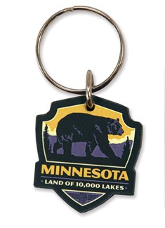 MN Bear Emblem Wooden Key Ring | American Made