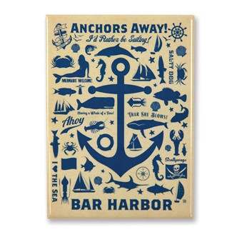 Anchor Pattern Print Bar Harbor Magnet | American Made Magnet
