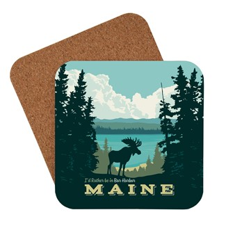 ME I'd Rather Be in Bar Harbor Coaster | American made coaster