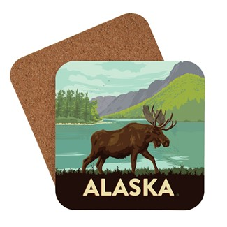 AK Moose Encounter Coaster | American Made Coaster