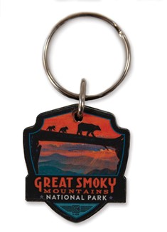 Great Smoky Bear Crossing Emblem Wooden Key Ring | American Made