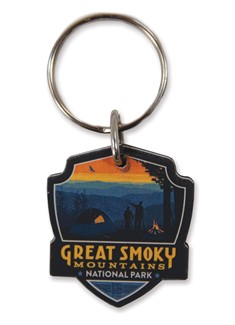 Great Smoky Back Country Camping Emblem Wooden Key Ring | American Made