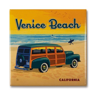CA Venice Beach Woody Square Magnet | Metal Magnet
