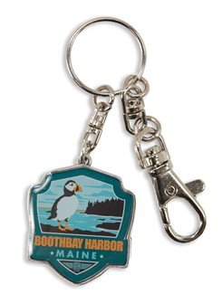 ME Boothbay Harbor Puffin Emblem Pewter Key Ring | American Made