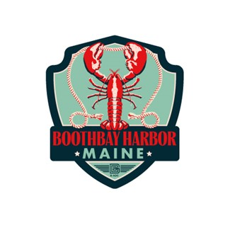 ME Boothbay Harbor Lobster Emblem Sticker | Emblem Sticker