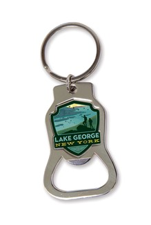 Lake George, NY Emblem Bottle Opener Key Ring | American Made